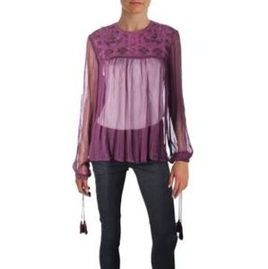 Free People Purple Sheer LongSleeve Tassle Blouse